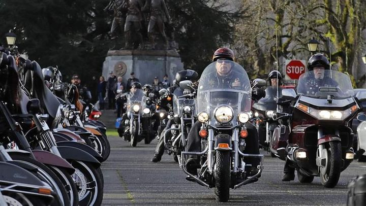 Motorcycle riders arrive in Olympia, Washington, last month for a rally sponsored by ABATE, one of the motorcycle groups that