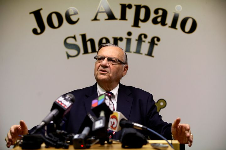 Then-Sheriff Joe Arpaio speaks during a news conference at his headquarters in Phoenix, Aug. 31, 2012.