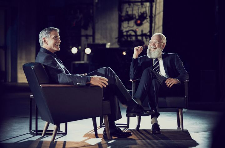 "Georgey Clooney and David Letterman chat on ""My Next Guest Needs No Introduction."""