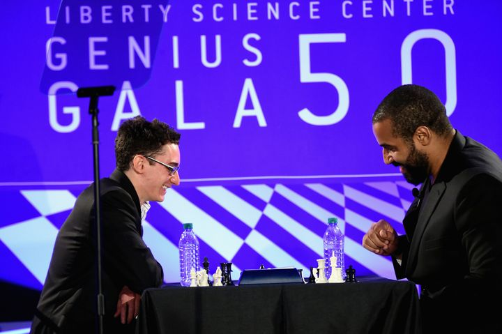 John Urschel faces Grandmaster Fabiano Caruana, one of the top 10 players in the world,at the Liberty Science Center's