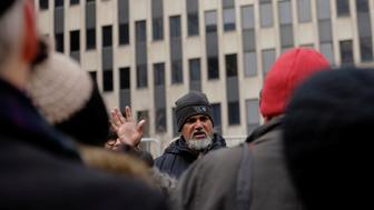 Immigration activist Ravi Ragbir leads a protest outside of a federal building in New York, U.S., February 1, 2018.  REUTERS/Lucas Jackson