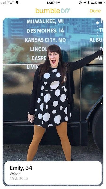 I settled on thisBumble BFF profile pic because Ithought my tights made me look fun?
