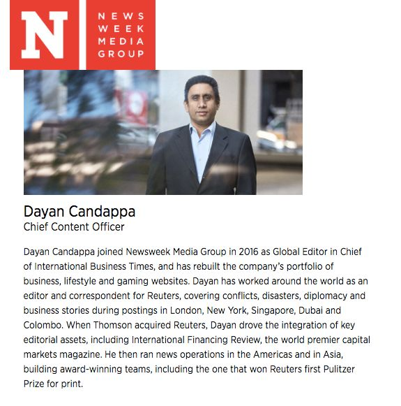 "Dayan Candappa is one of seven employees listed as part of Newsweek Media Group's ""executive team"" on the comp"