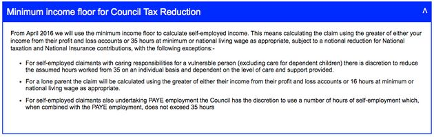 The notice explaining the minimum income floor on Lewes District Council's