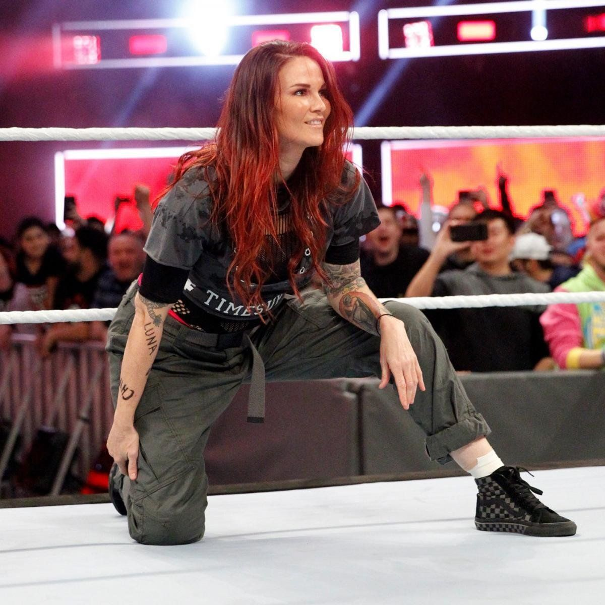 Lita (real name Amy Dumas) wore a shirt emblazoned with #TimesUp to the first-ever women's Royal Rumble match