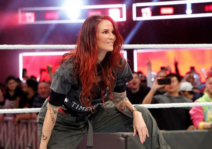 Lita (real nameAmy Dumas) wore a shirt emblazoned with #TimesUp to the first-everwomen's Royal Rumble match