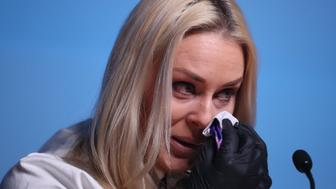 PYEONGCHANG, SOUTH KOREA - FEBRUARY 09: Alpine ski racer Lindsey Vonn of the United States breaks down crying while talking about her grand father at a press conference at the Main Press Center on February 9, 2018 in PyeongChang, South Korea.  (Photo by Tim Clayton/Corbis via Getty Images)
