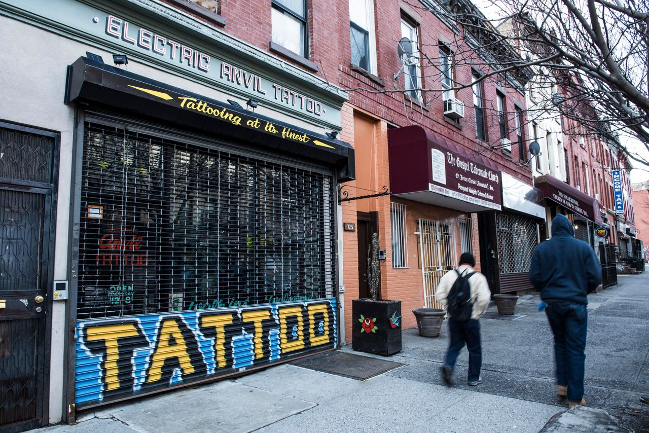 Electric Anvil Tattoo opened shop on Crown Heights' Franklin Avenue in 2015. While newly opened businesses say they cater to both new and old residents, in practice, long-standing residents may not patronize them.