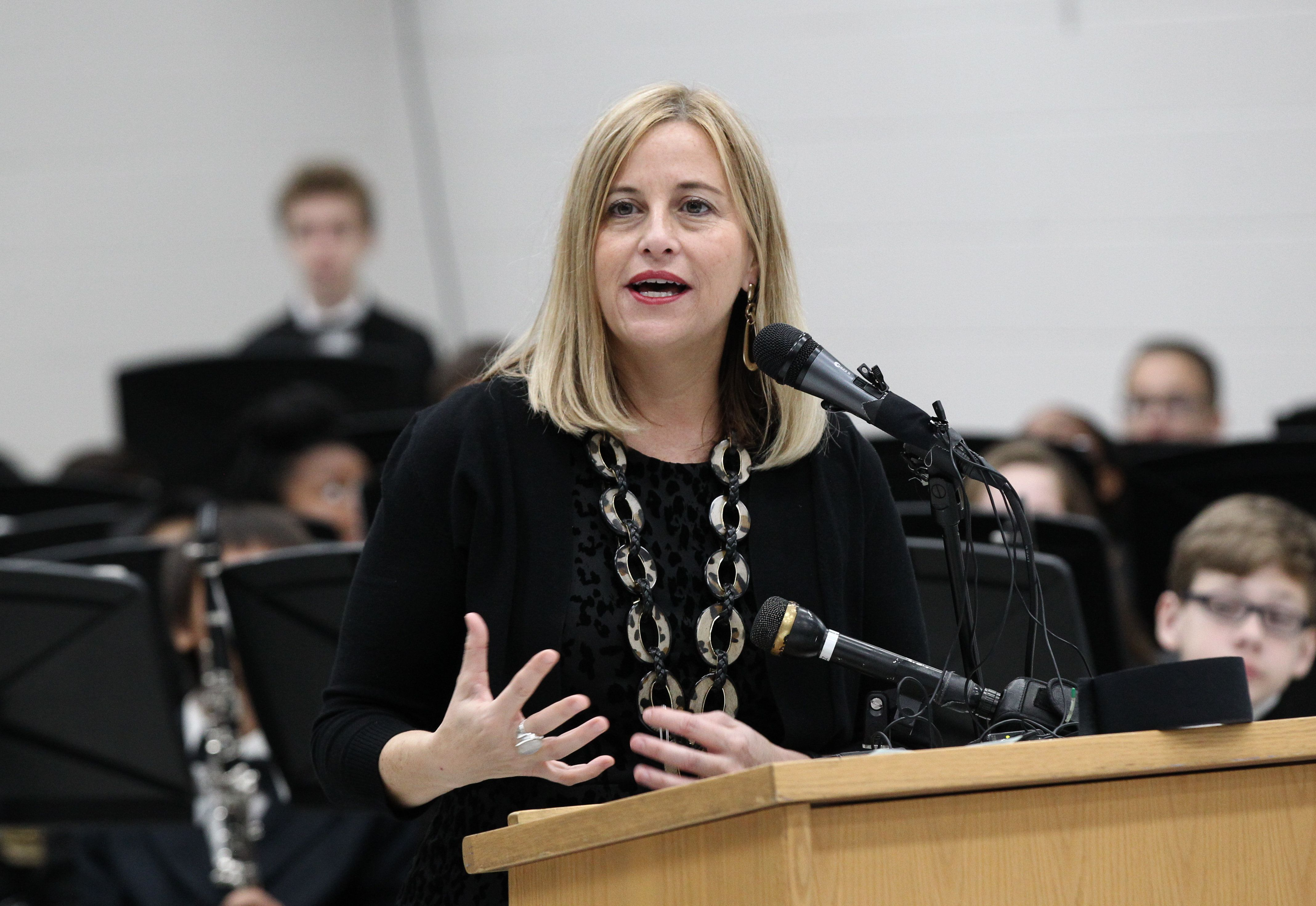 NASHVILLE, TN - DECEMBER 06:  Nashville Mayor Megan Barry speaks during the CMA Foundation's Announcement of a One Million dollar donation to the Metro Nashville public schools 'Music makes us' progam at Oliver Middle School on December 6, 2016 in Nashville, Tennessee.  (Photo by Terry Wyatt/Getty Images)
