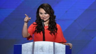 Jennifer Pierotti Lim, director of Health Policy, US Chamber of Commerce and Co-Founder of Republican Women for Hillary, addresses delegates on the fourth and final day of the Democratic National Convention at Wells Fargo Center on July 28, 2016 in Philadelphia, Pennsylvania.   / AFP / SAUL LOEB        (Photo credit should read SAUL LOEB/AFP/Getty Images)