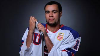 Ice hockey player Jordan Greenway poses for a portrait at the U.S. Olympic Committee Media Summit in Park City, Utah, U.S. September 25, 2017. He listens to hip hop music while training.    REUTERS/Mike Blake