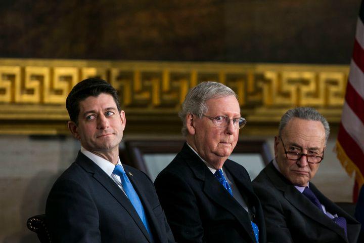 House Speaker Paul Ryan (R-Wis.),SenateMajority Leader Mitch McConnell (R-Ky.) and Senate Minority Leader Chuck S