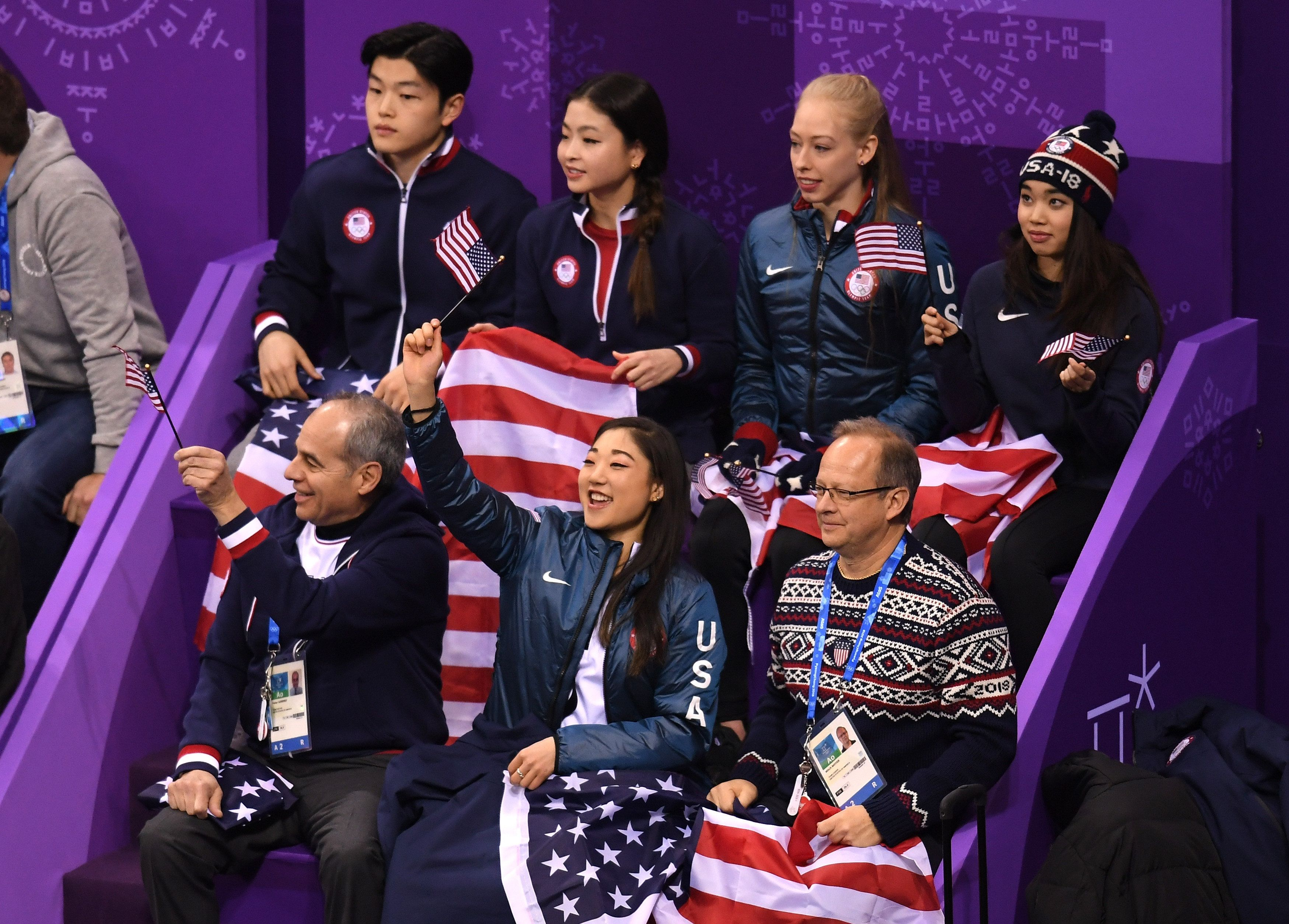 GANGNEUNG, SOUTH KOREA - FEBRUARY 09:  United States team members cheer for Nathan Chen in the Figure Skating Team Event - Men's Single Skating Short Program during the PyeongChang 2018 Winter Olympic Games at Gangneung Ice Arena on February 9, 2018 in Gangneung, South Korea.  (Photo by Harry How/Getty Images)
