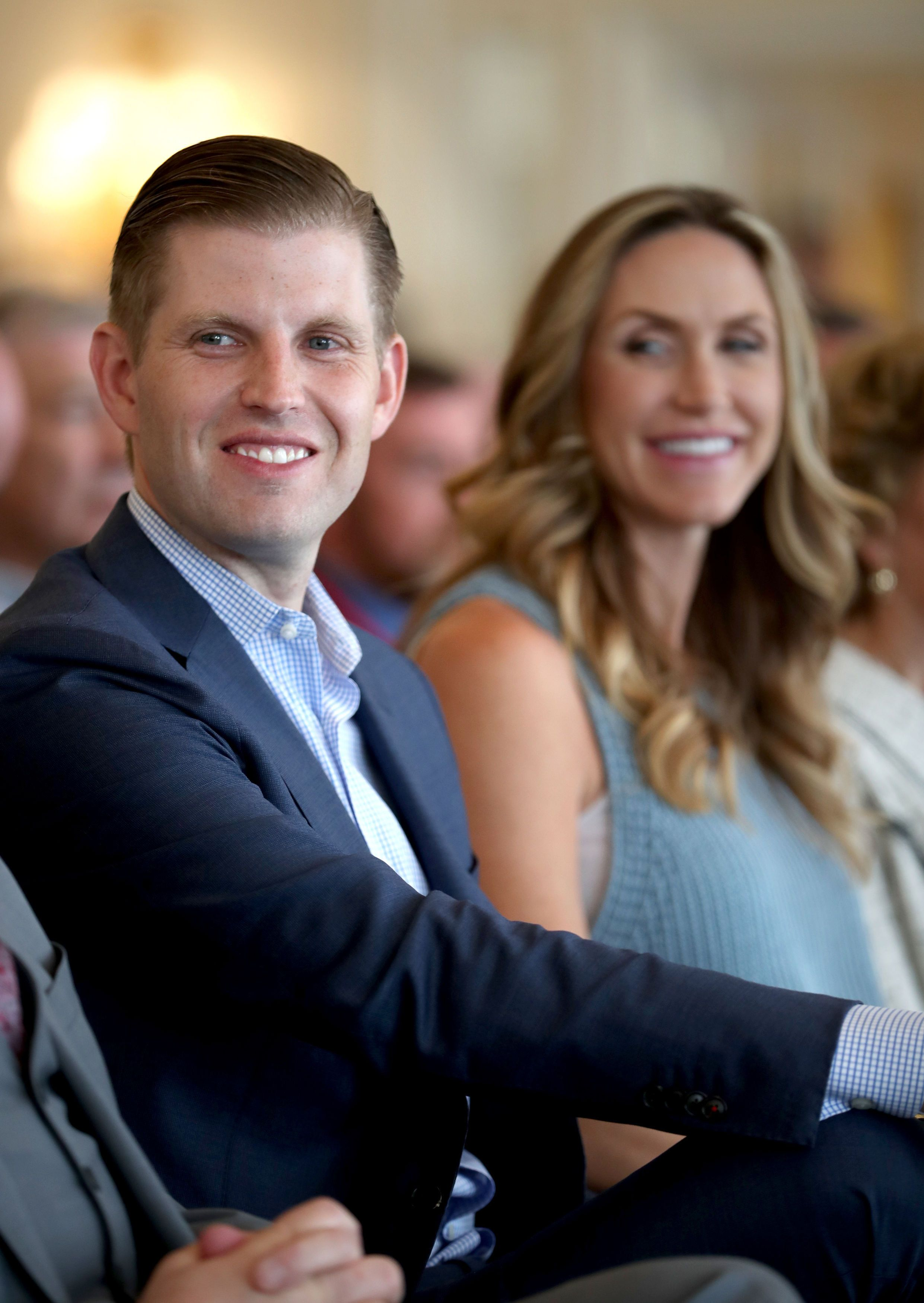 Eric Trump, son of US President Donald Trump, with his wife Lara, during the opening of the new golf course at Trump Turnberry in Ayrshire.