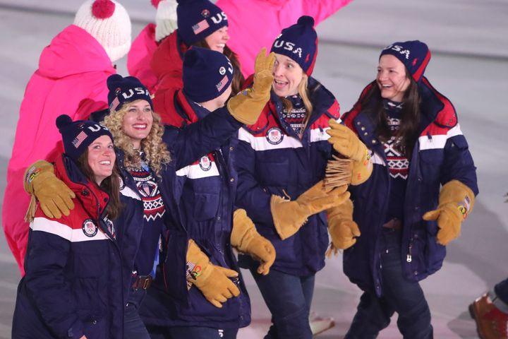 "Team USA athletes sport the Polo Ralph Lauren gloves many people liken to those worn in the movie ""Dumb and Dumber"" duri"