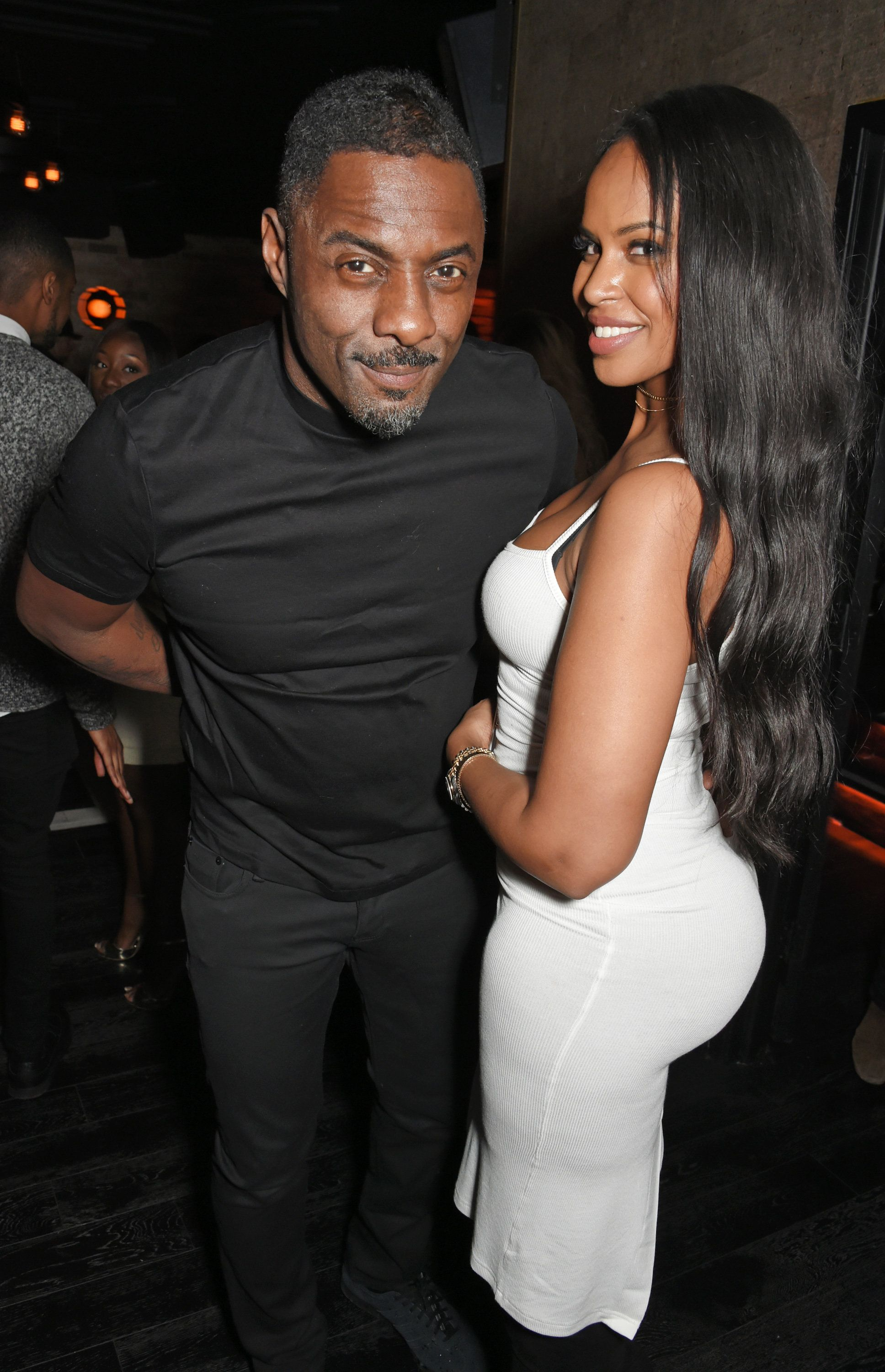 Idris Elba and Sabrina Dhowre at the actor's Christmas Party in December 2017.