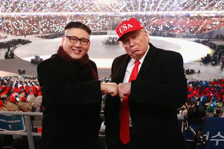PYEONGCHANG-GUN, SOUTH KOREA - FEBRUARY 09: Impersonators of Donald Trump and Kim Jong Un pose during the Opening Ceremony of
