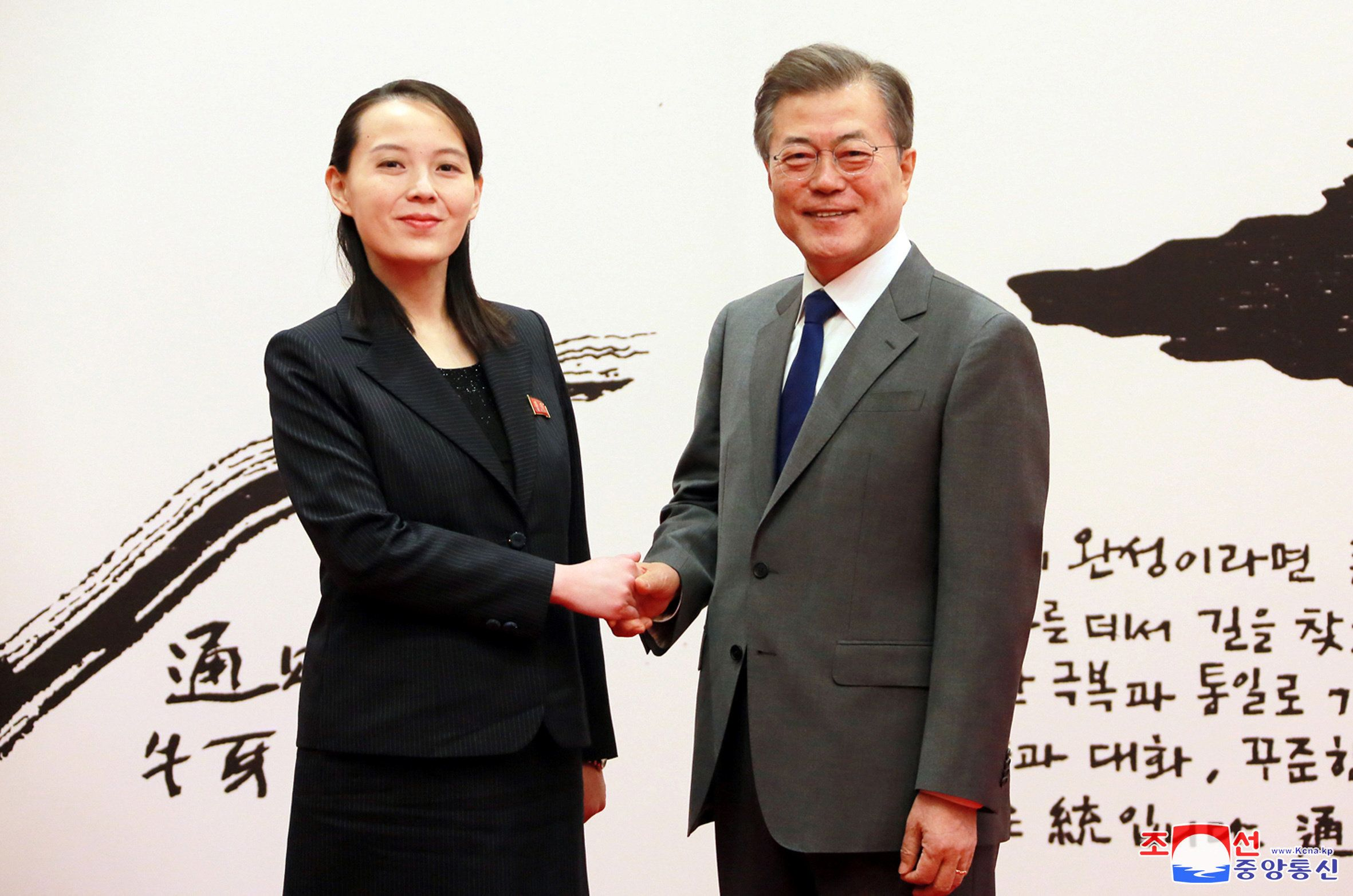 South Korean President Moon Jae-in shakes hands with Kim Yo Jong, the sister of North Korea's leader Kim Jong Un, in Seoul, South Korea in this undated photo released by North Korea's Korean Central News Agency (KCNA) February 10, 2018. KCNA/via REUTERS ATTENTION EDITORS - THIS PICTURE WAS PROVIDED BY A THIRD PARTY. REUTERS IS UNABLE TO INDEPENDENTLY VERIFY THE AUTHENTICITY, CONTENT, LOCATION OR DATE OF THIS IMAGE. NO THIRD PARTY SALES. NOT FOR USE BY REUTERS THIRD PARTY DISTRIBUTORS. SOUTH KOREA OUT.