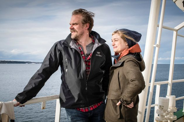 Actors David Harbour and Alison Sudol aboard Arctic