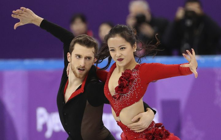 Yura Min and Alexander Gamelin of South Korea compete at the Winter Olympics on Feb. 11, 2018.