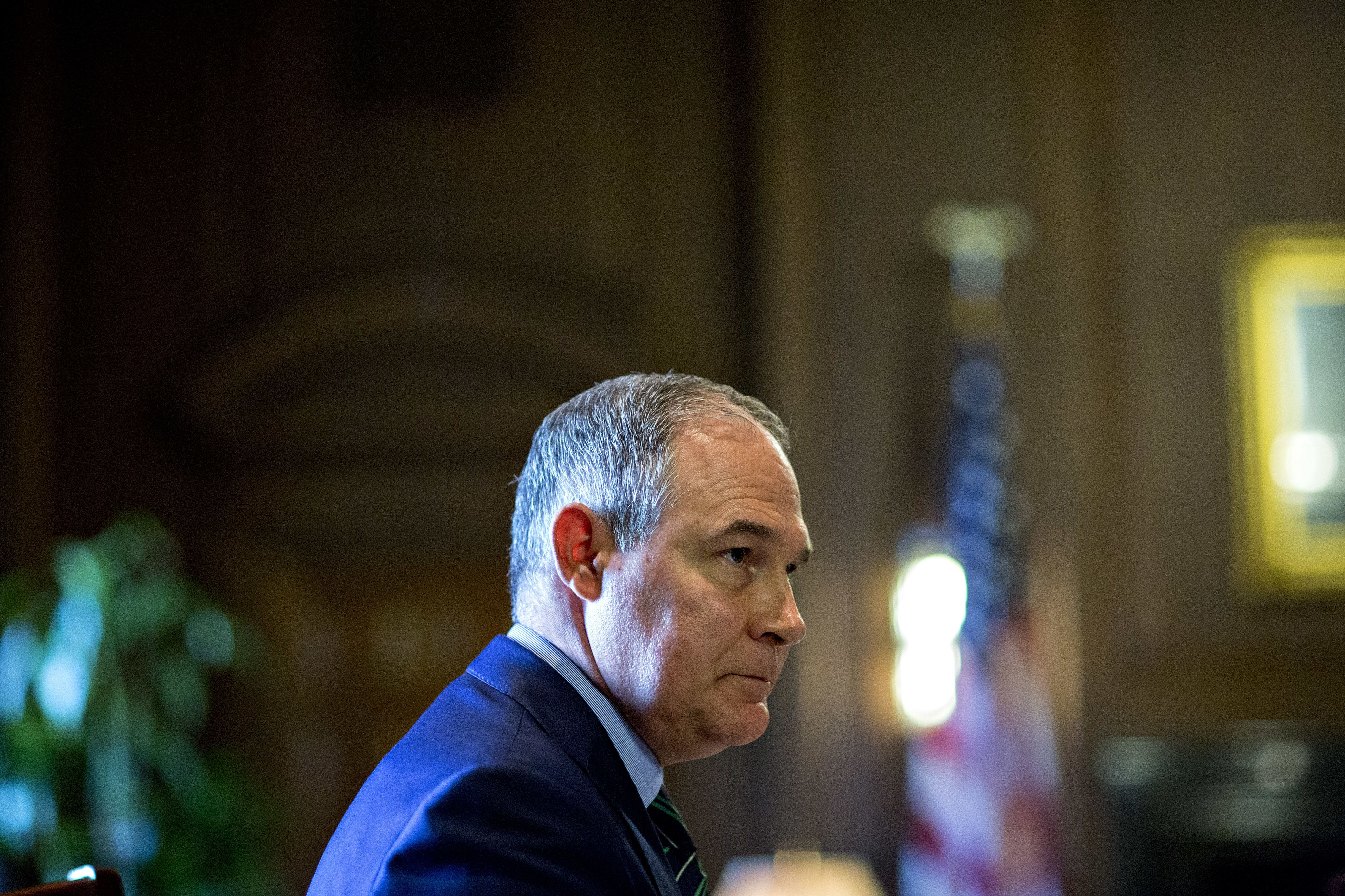 Scott Pruitt, administrator of the Environmental Protection Agency (EPA), pauses while speaking during an interview in his office at the EPA headquarters in Washington, D.C., U.S., on Wednesday, Oct. 25, 2017. Pruitt vowed that he will get tough on corporate polluters, dismissing critics who cast him as too cozy with industry. Photographer: Andrew Harrer/Bloomberg via Getty Images