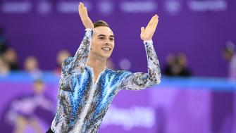 USA's Adam Rippon reacts after completing his routine in the figure skating team event men's single skating free skating during the Pyeongchang 2018 Winter Olympic Games at the Gangneung Ice Arena in Gangneung on February 12, 2018. / AFP PHOTO / Roberto SCHMIDT        (Photo credit should read ROBERTO SCHMIDT/AFP/Getty Images)
