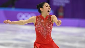 USA's Mirai Nagasu competes in the figure skating team event women's single skating free skating during the Pyeongchang 2018 Winter Olympic Games at the Gangneung Ice Arena in Gangneung on February 12, 2018. / AFP PHOTO / Roberto SCHMIDT        (Photo credit should read ROBERTO SCHMIDT/AFP/Getty Images)