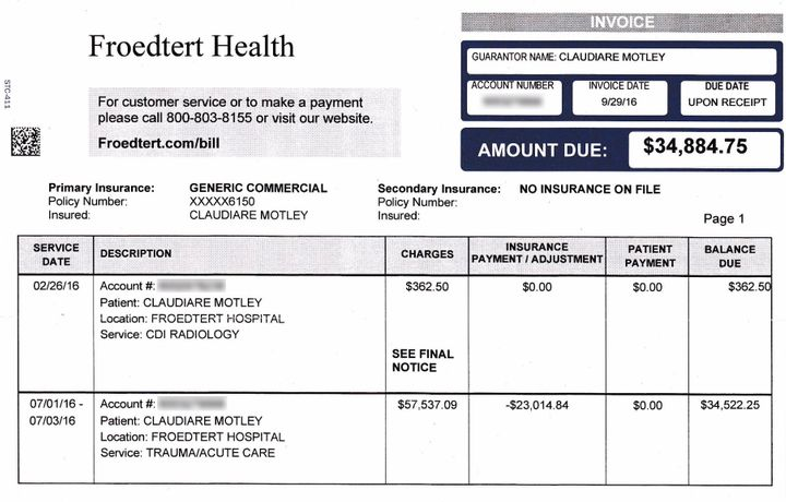 One of Motley's hospital bills, totaling $34,885.