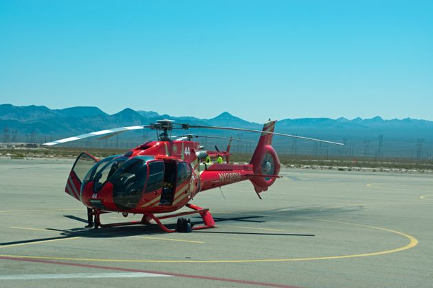 File photo of a similar helicopter to the one which crashed on Sunday at Nevada's Grand Canyon, pictured...