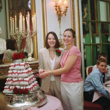 Joanna and Paula at their wedding ceremony, The Ritz, 2006