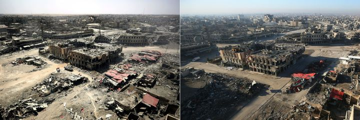This combination of pictures shows a general view of the destruction in Mosul's Old City on July 9, 2017, left, and the same