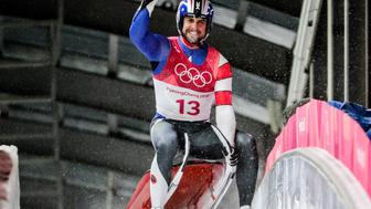 PYEONGCHANG, SOUTH KOREA  FEBRUARY 11, 2018: Luger Chris Mazdzer of the United States reacts as he wins silver in the men's singles luge event at the 2018 Winter Olympic Games, at the Olympic Sliding Centre. Sergei Bobylev/TASS (Photo by Sergei Bobylev\TASS via Getty Images)