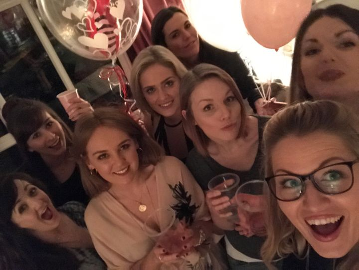 From left to right: Jen, Fiona, Kate, Katy, Rachel, Sophie, Isla, and Jess at last year's Galentine's party.
