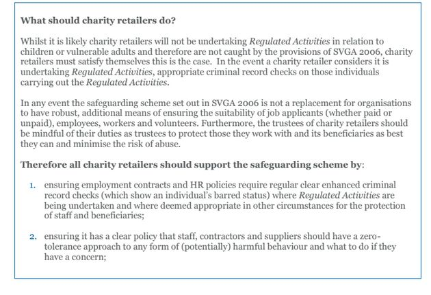 A screenshot of the safeguarding guidance note re-issued to charity shop bosses on