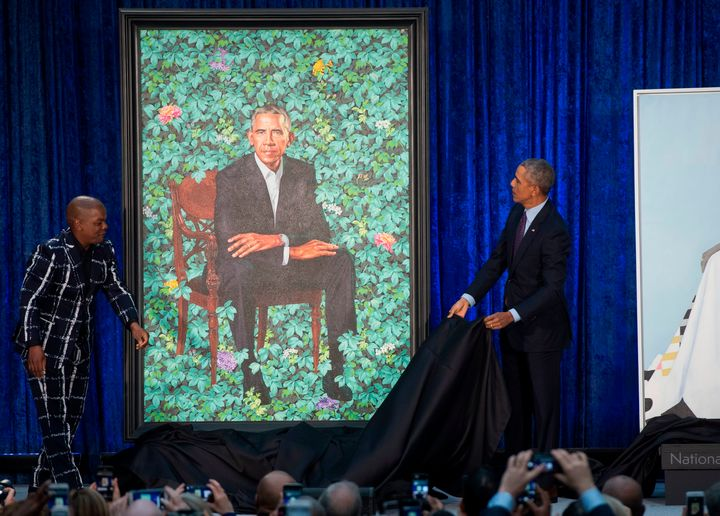 Artist Kehinde Wiley and Barack Obama unveil the former president's portrait.