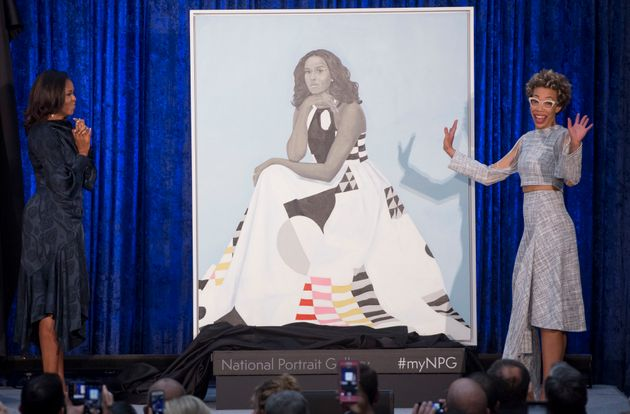 Michelle Obama and artist Amy Sherald unveil the former first lady's official portrait at the National...