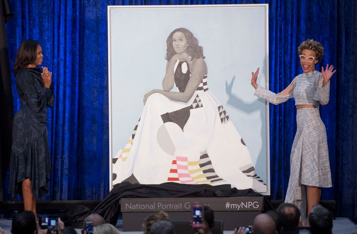 Michelle Obama and artist Amy Sherald unveil the former first lady's official portrait at the National Portrait Gallery.