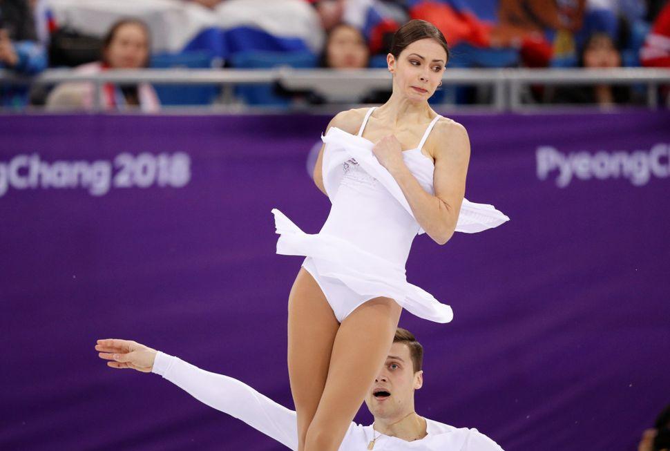 Natalia Zabiiako and Alexander Enbert, Olympic athletes from Russia.
