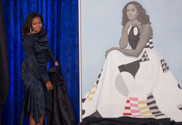 Former first lady Michelle Obama's portrait that will be on display in the National Portrait