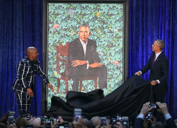 The portrait of former President Barack Obama that will be on display in the gallery.