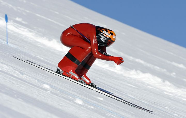 Simone Origone of Italy competes in the FIS Speed Skiing World Championships in 2009 in Vars, France.