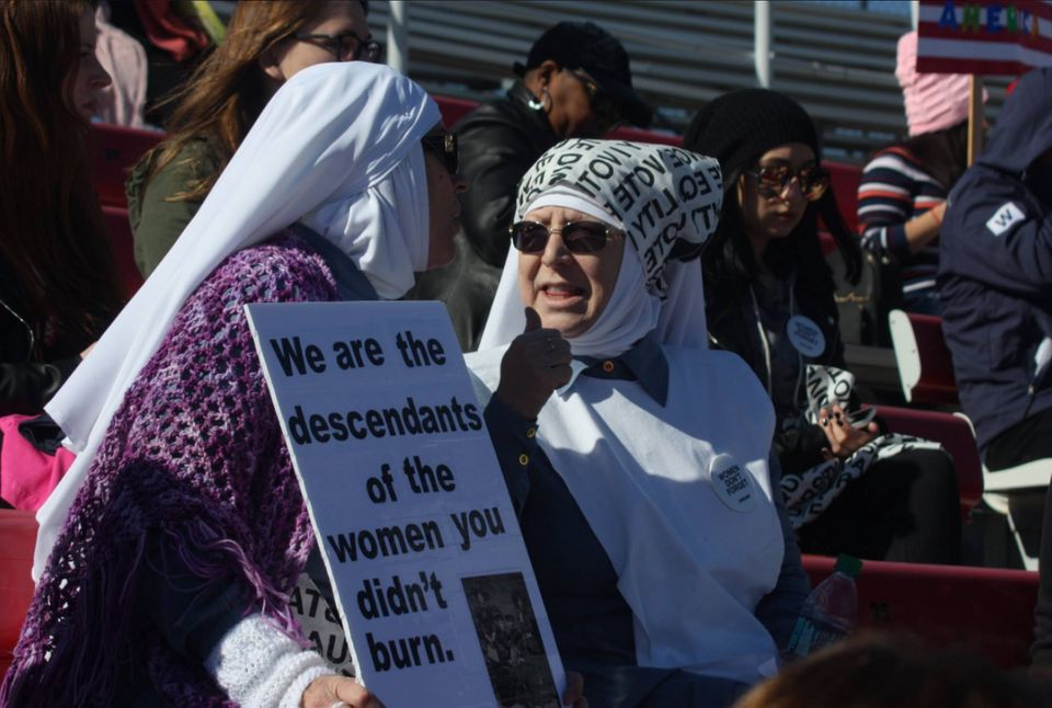 Thesisters attend a 2018 women's march in California.