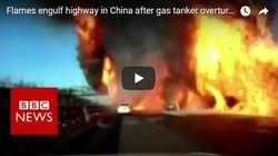 Βίντεο: Δρόμος κατακλύζεται από φλόγες μετά από ανατροπή