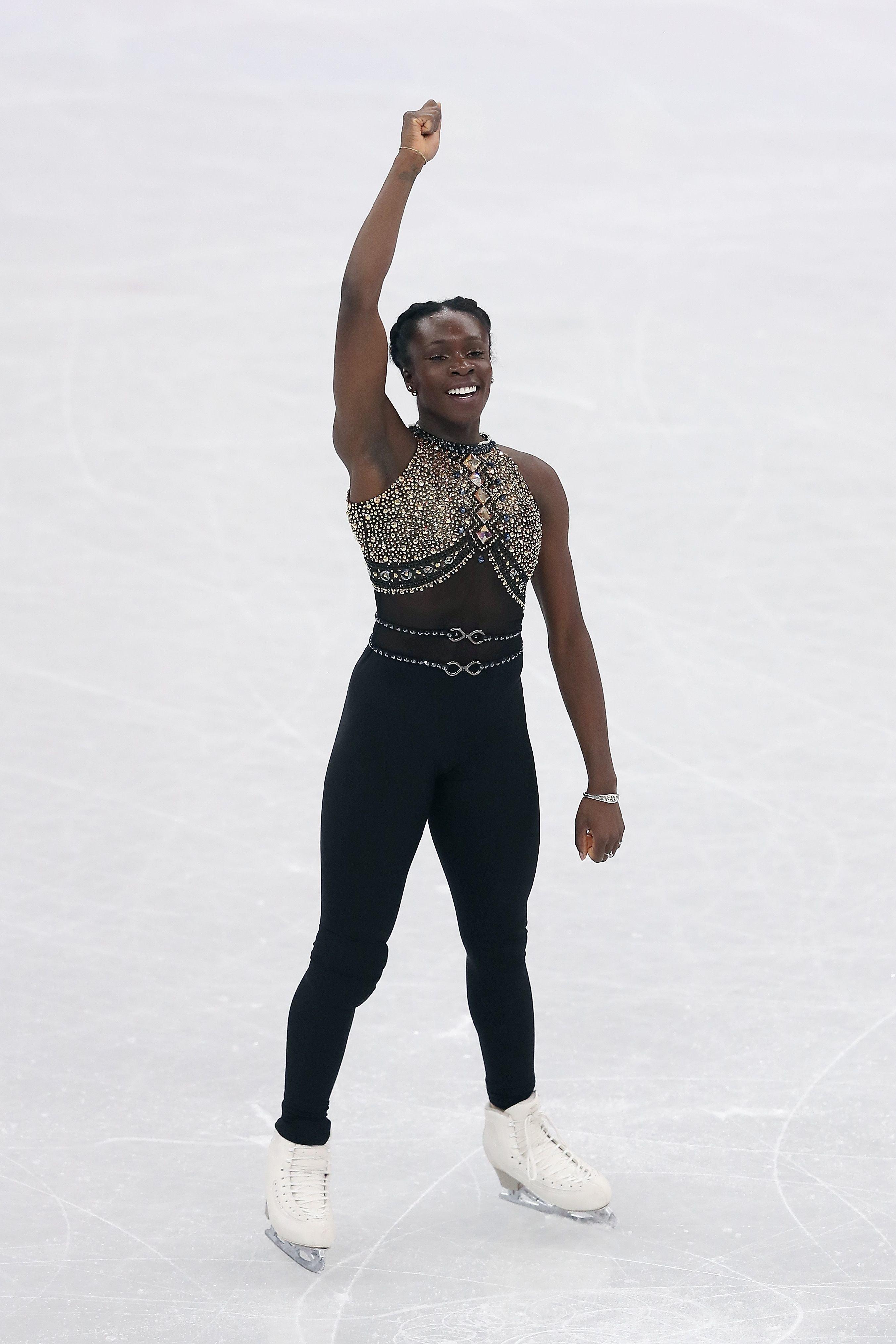 Maé-Bérénice Méité at the 2018 Winter Olympics on Feb. 11, 2018, in Gangneung, South Korea.