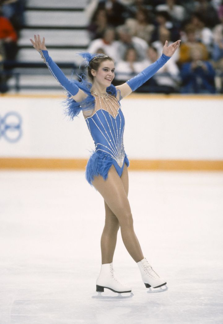Katarina Witt in the 1988 Calgary Olympics, sporting the blue dress that sparked the so-called Katarina Rule.