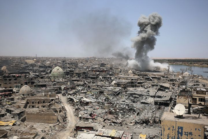 Smokebillowsafter an airstrike by U.S.-led international coalition forces targeting the so-called Islamic S