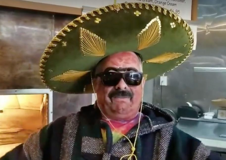 The Pizzalchik promotional video features the owner in sombrero and brown face paint, speaking in a fake Mexican accent.