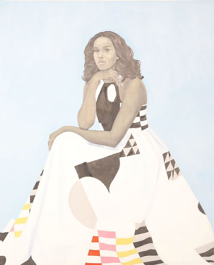 A detail of artist Amy Sherald's portrait of Michelle Obama.