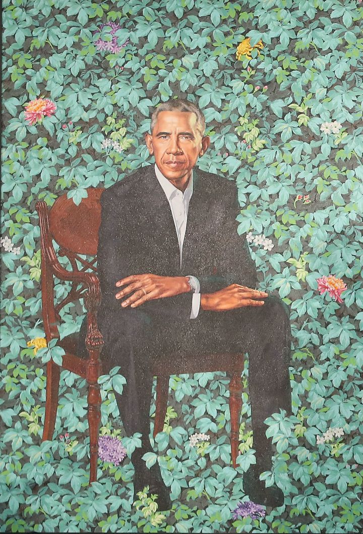 Barack Obama's portrait by Kehinde Wiley in further detail.
