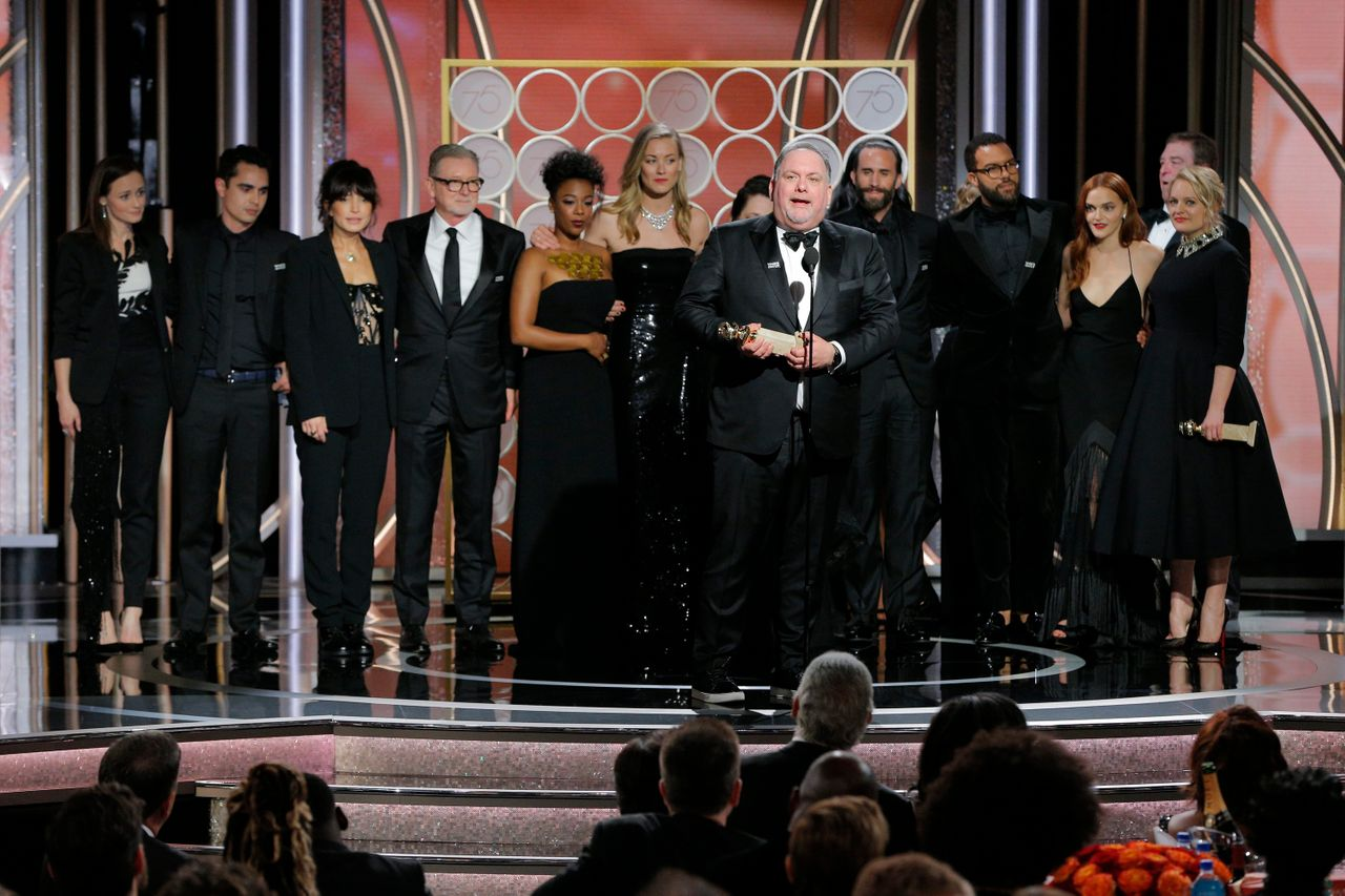 """Bruce Miller accepts the award for Best Television Series, Drama for Hulu's """"The Handmaid's Tale"""" in January."""